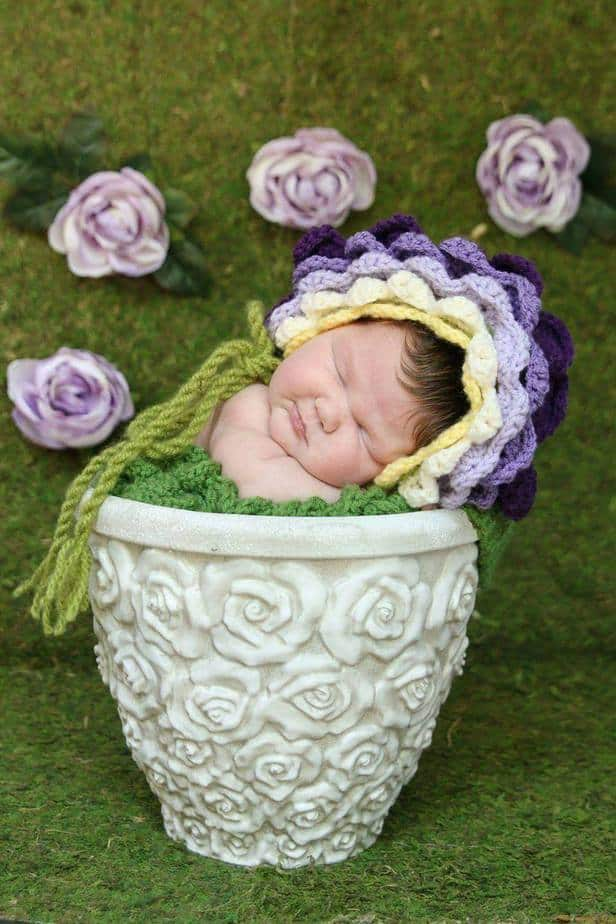 Flower Crochet Bonnet Hat by Briana K Designs