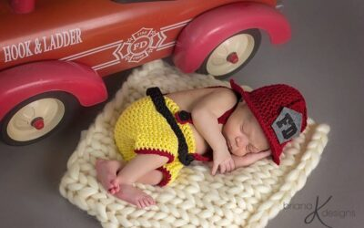 Newborn Firefighter Crochet Outfit Pattern