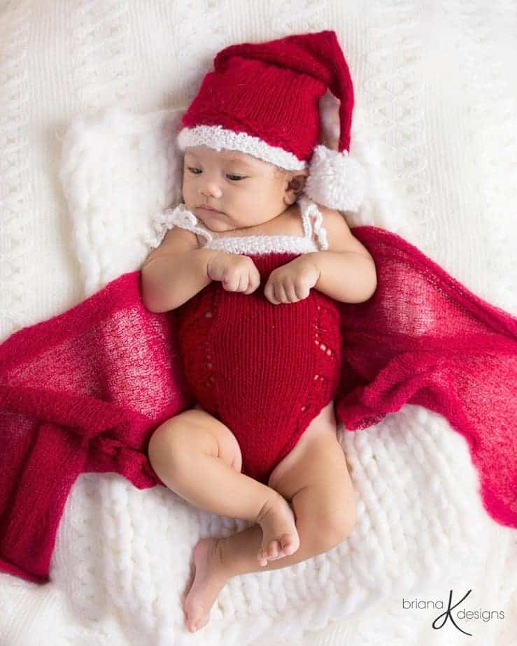 Poinsettia Knit Romper by Briana K Designs