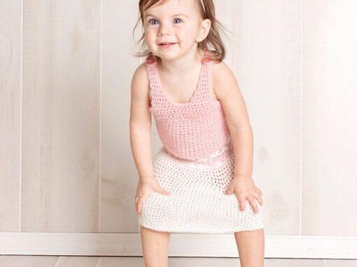 Lace Trim Crochet Skirt