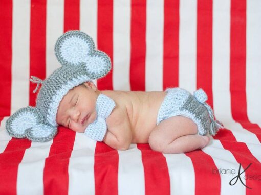Elephant Hat and Diaper Cover for Boy or Girl