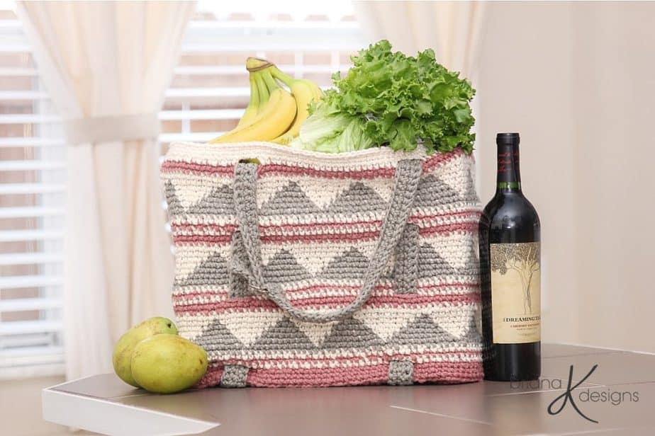 Beach Pool Grocery Tote Bag by Briana K Designs