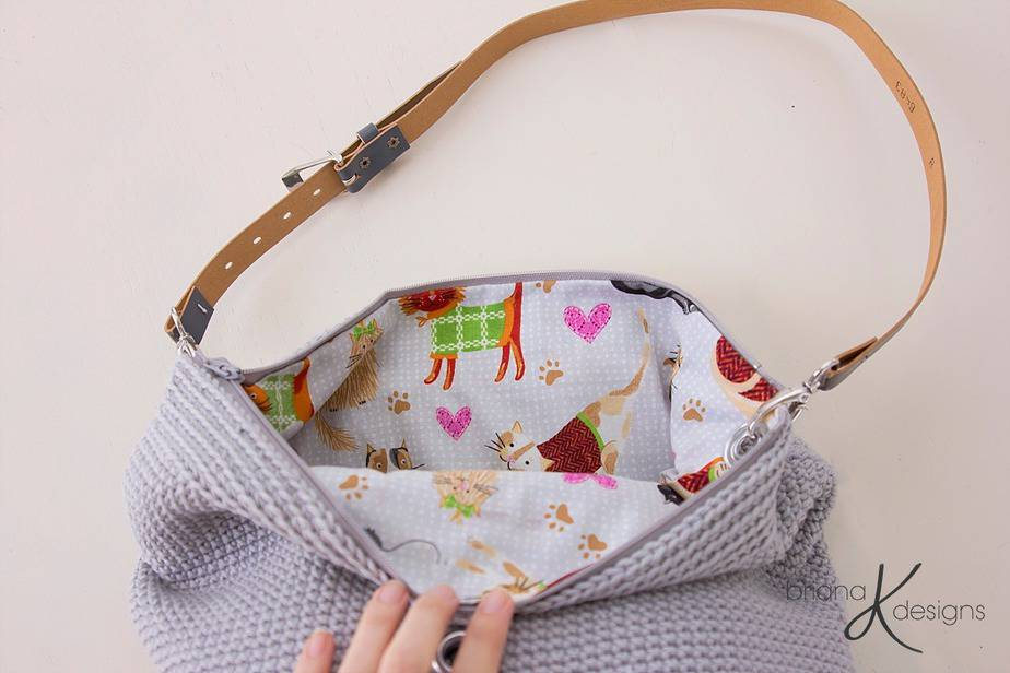 Cat Crochet Yarn Project Bag by Briana K Designs