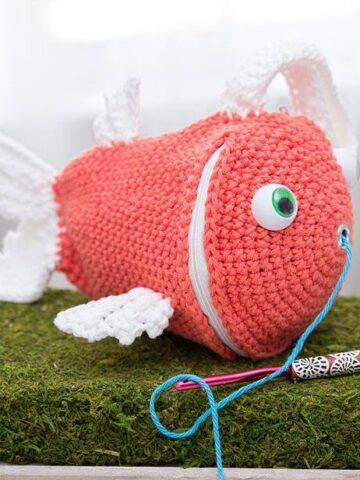 Fish Crochet Wristlet Yarn Holder Bag by Briana K Designs
