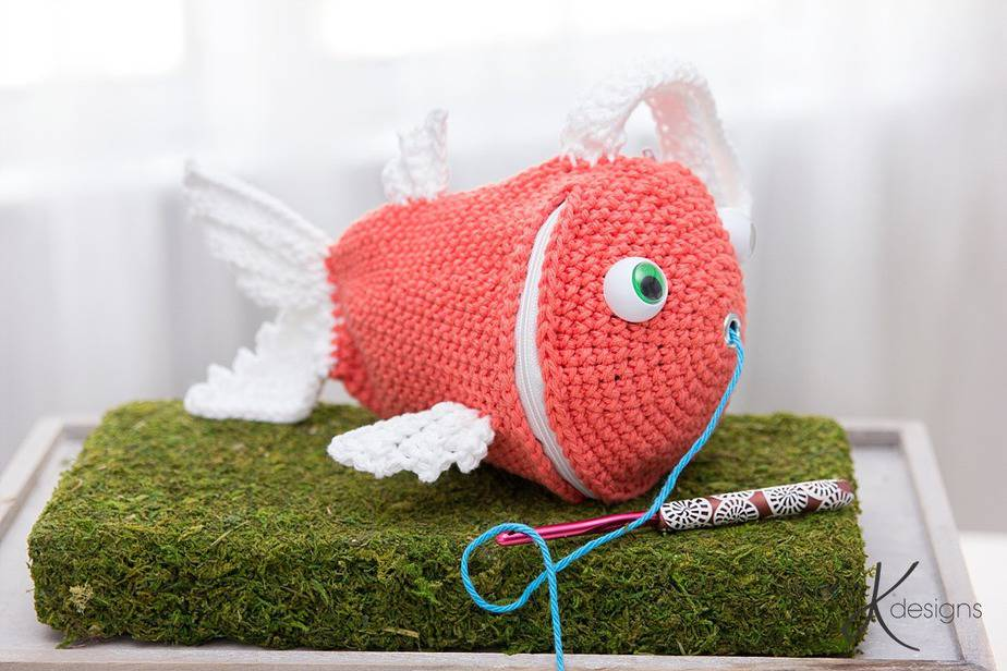 Fish Wristlet Yarn Holder Bag Briana K Designs