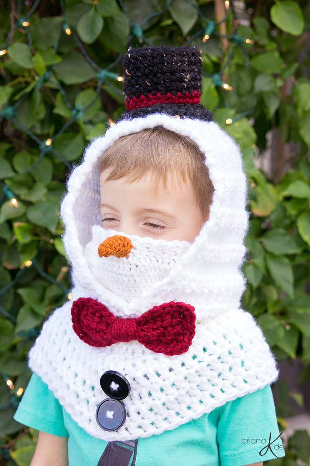 Snowman Hooded Crochet Cowl by Briana K Designs