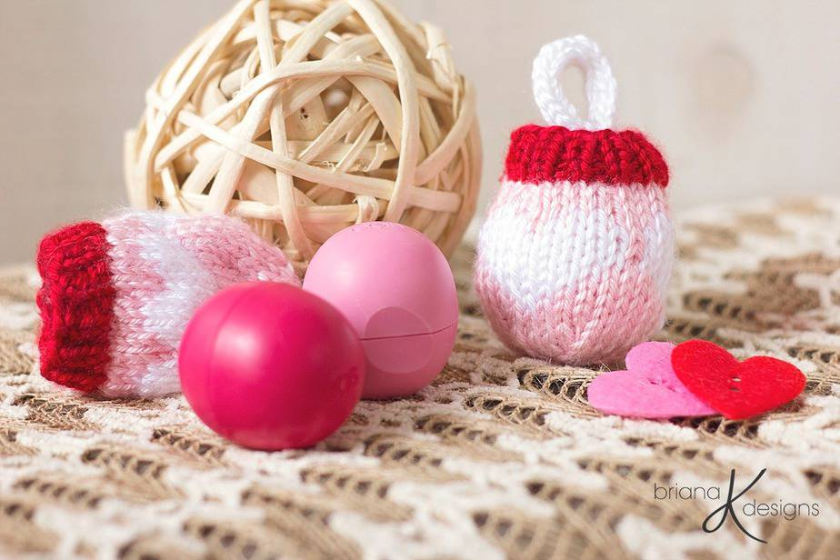 Knit EOS Lip Balm Holder / Key Chain by Briana K Designs