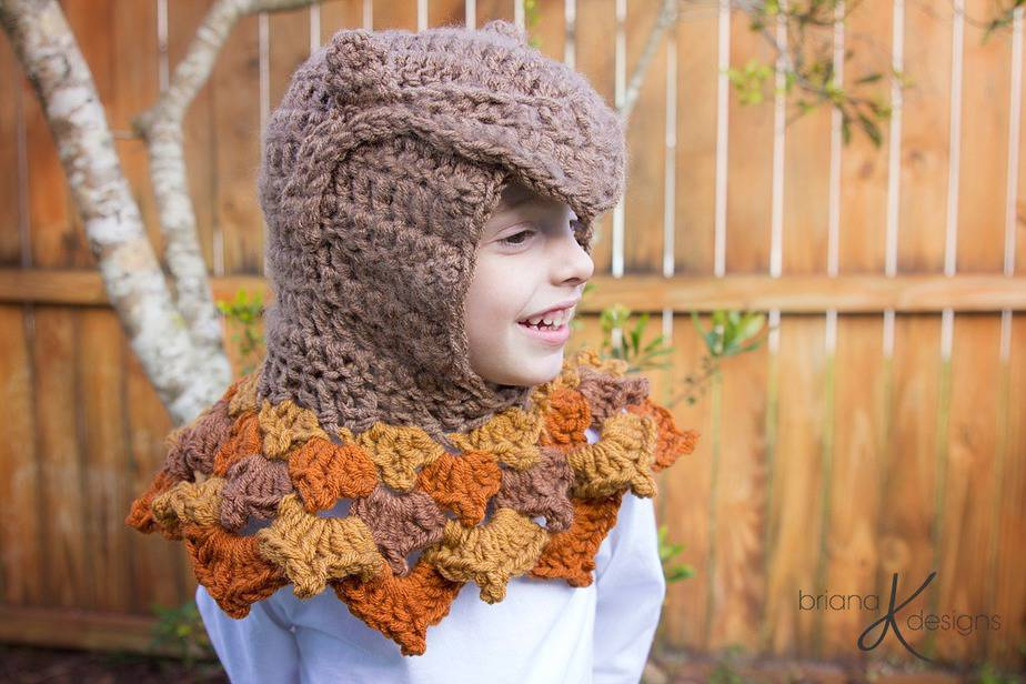 Owl Hooded Crochet Woodland Cowl by Briana K Designs