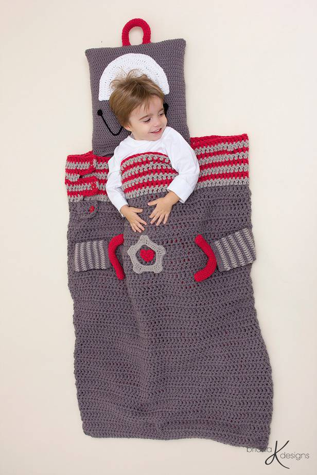 Robot Crochet Sleeping Bag by Briana K Designs