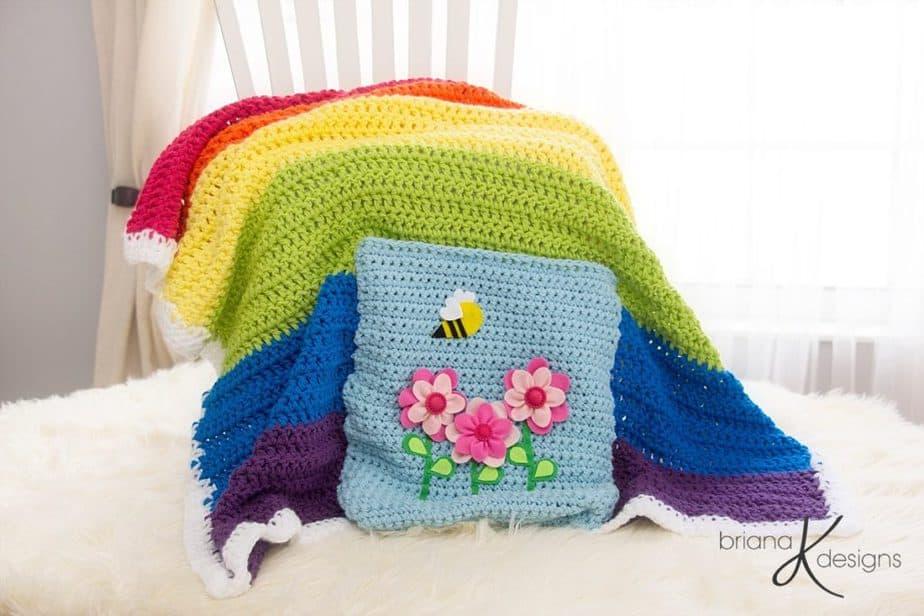 Rainbow Blanket Crochet by Briana K Designs