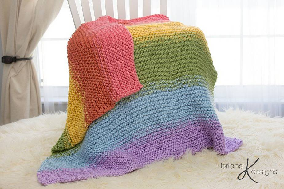 Rainbow Blanket Knit by Briana K Designs