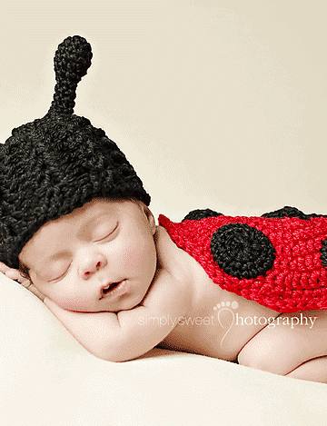 Ladybug Hat and Diaper Cover Set by Briana K Designs