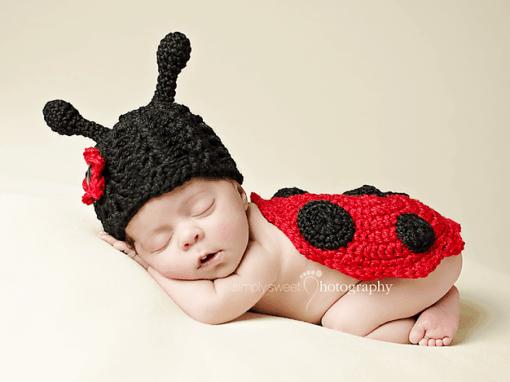 Newborn Ladybug Hat and Bottom Cover