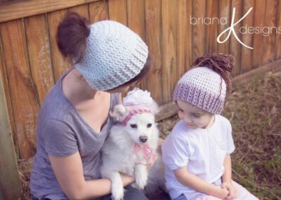Messy Bun Pony Tail Hat + Puppy