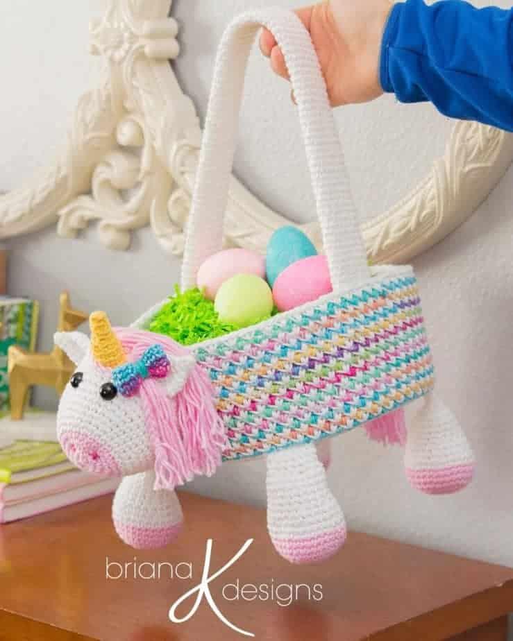 Unicorn Easter Basket crochet