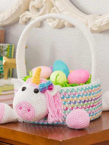 Unicorn crochet basket pattern