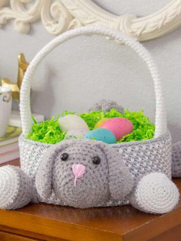 bunny easter basket crochet pattern
