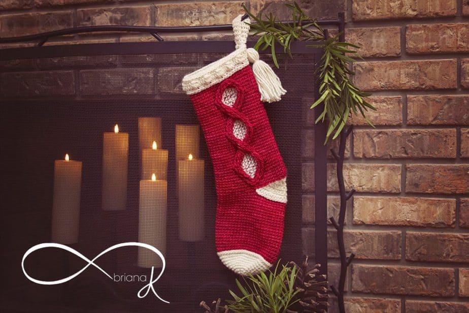 Joy & Noel Infinity Crochet Christmas Stocking