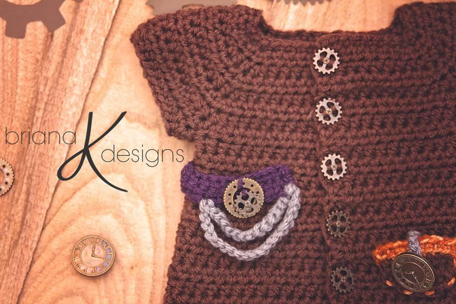 Steampunk Newborn Crochet Outfit