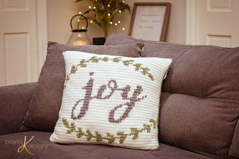 Joy Crochet Pillow