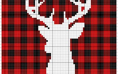 Farmhouse Plaid Deer Knit Pillow Cover – Free Pattern