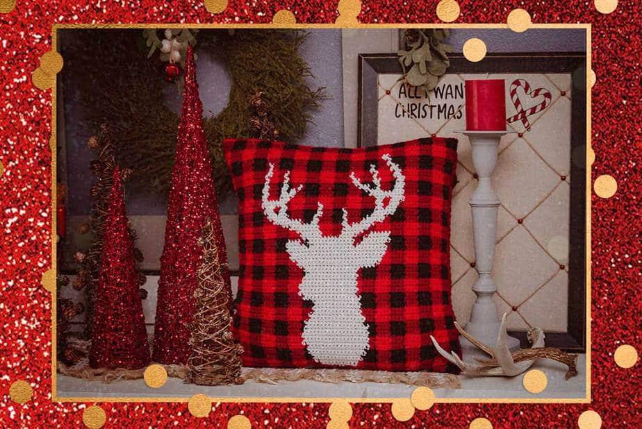 Farmhouse Plaid Deer Crochet Pillow Cover Free Pattern Briana K
