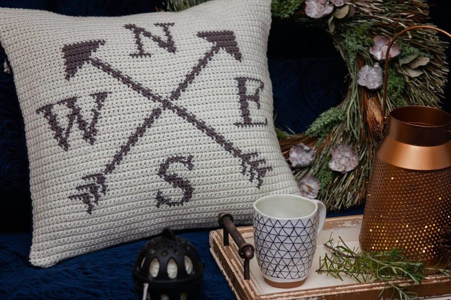 Compass Crochet Free Pillow Pattern by Briana K Designs