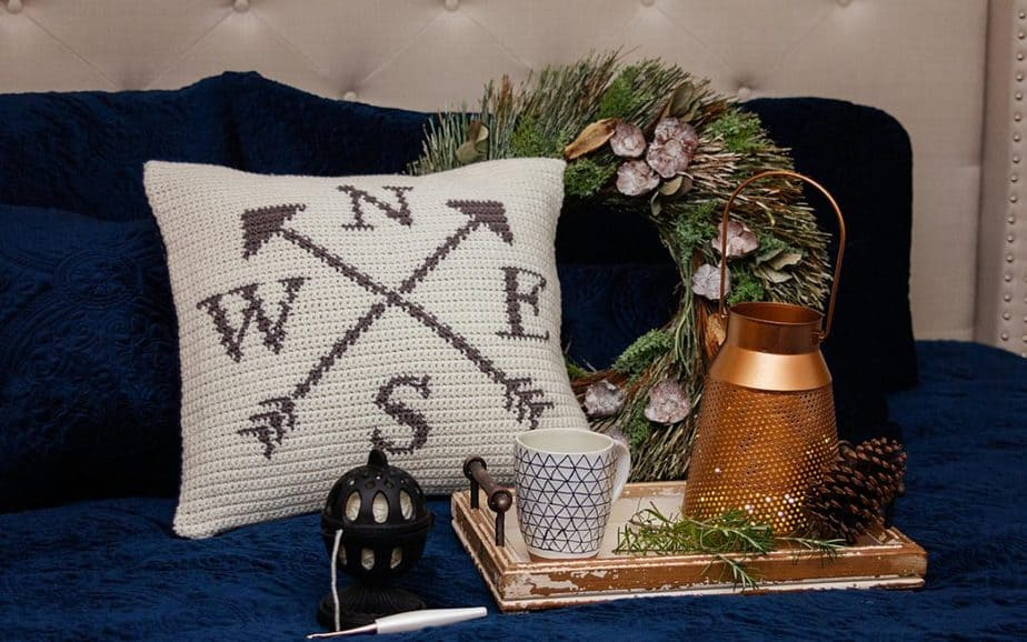 Compass Crochet Pillow Cover – Free Pattern