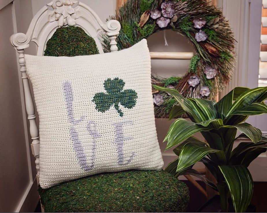 St. Patrick's Shamrock Pillow Cover Free Crochet by Briana K Designs