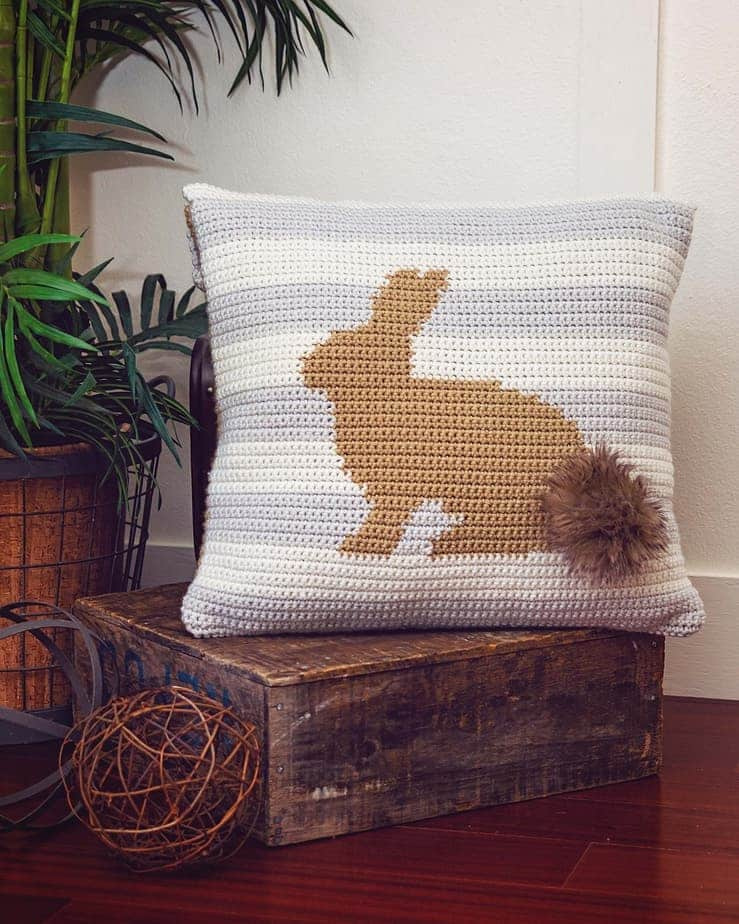 Fluffy Bunny Crochet Pillow Cover by Briana K Designs