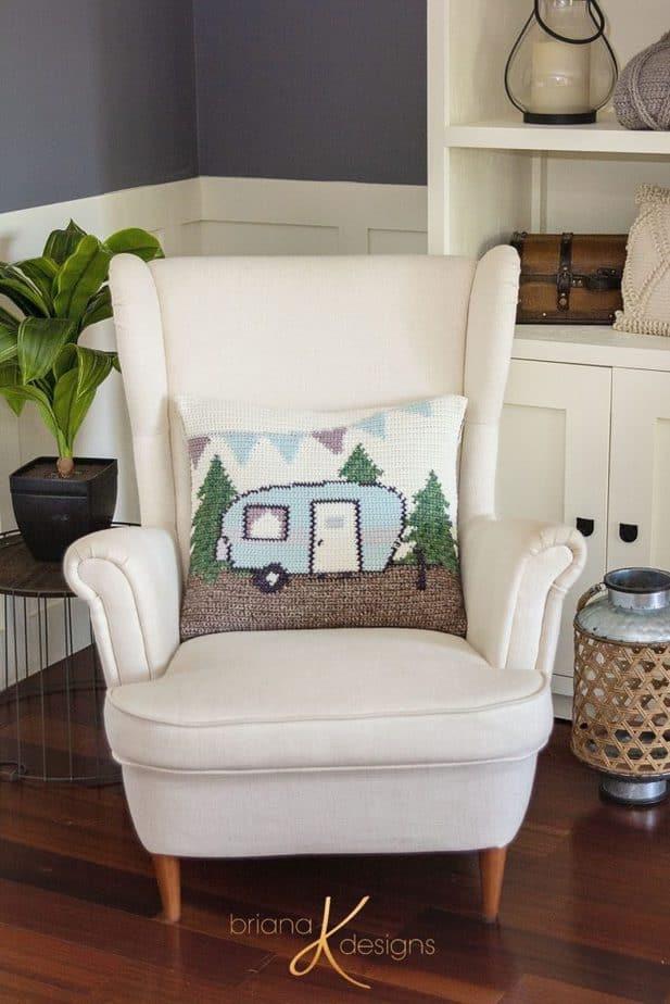 Camper Crochet Pillow Cover