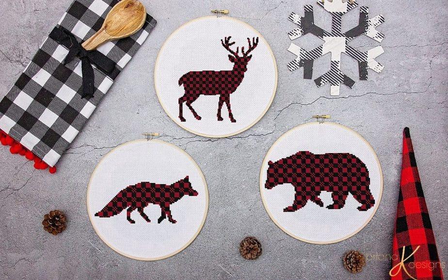 Plaid Rustic Animal Cross Stitch