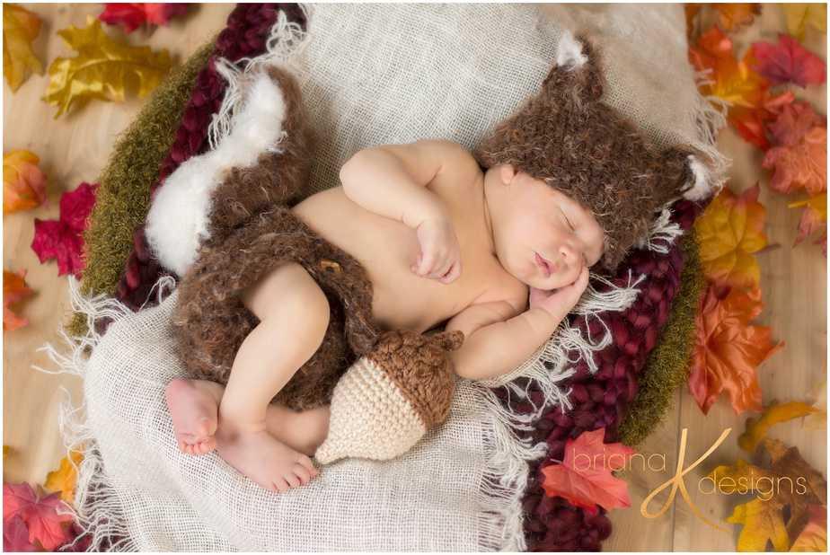 Squirrel Newborn Baby Crochet Pattern by Briana K Designs