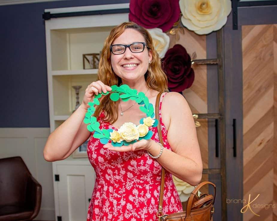 Paper Flower Ring Wreath Free tutorial svg pdf bridal shower baby shower briana k designs
