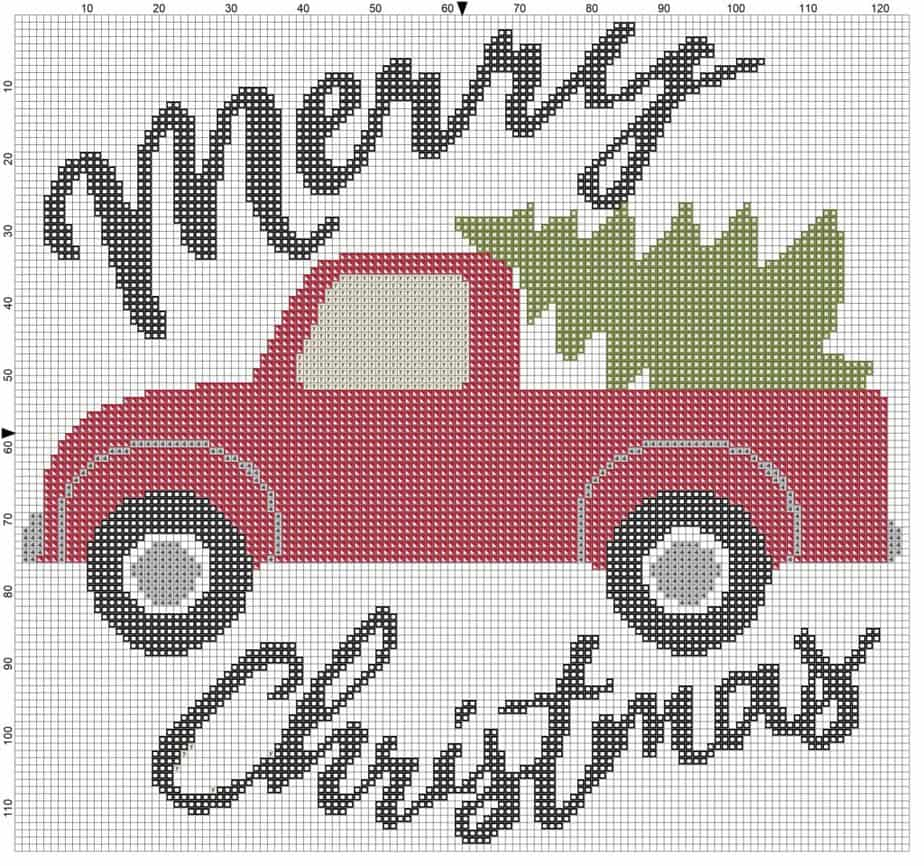 Christmas Truck Merry Christmas Cross Stitch Block and Symbols by Briana K Designs