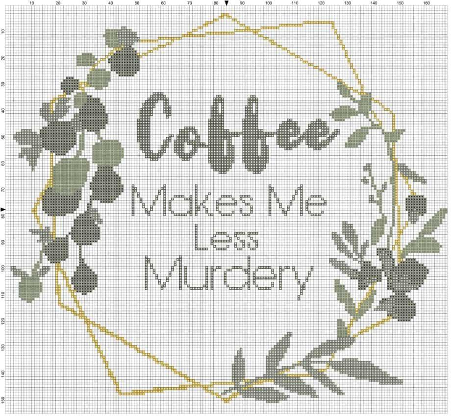 Coffee Makes Me Murdery Cross Stitch by Briana K Designs