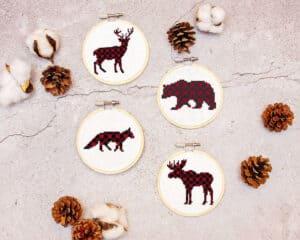 Small Ornament Plaid Animals Cross Stitch