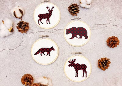 Small Ornament Plaid Animals Cross Stitch
