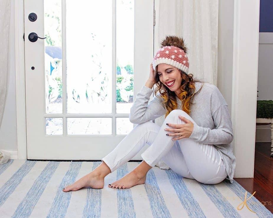 Polka Dot Cluster Crochet Hat