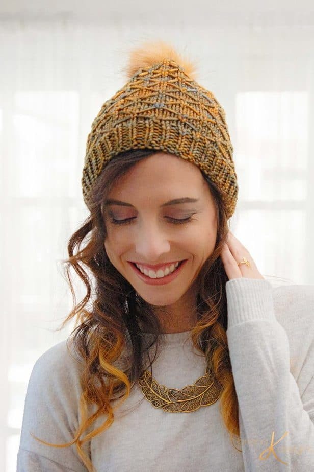 Quilted Lattice Knit Hat by Briana K Designs