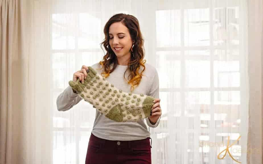 Polka Dot Knit Stocking