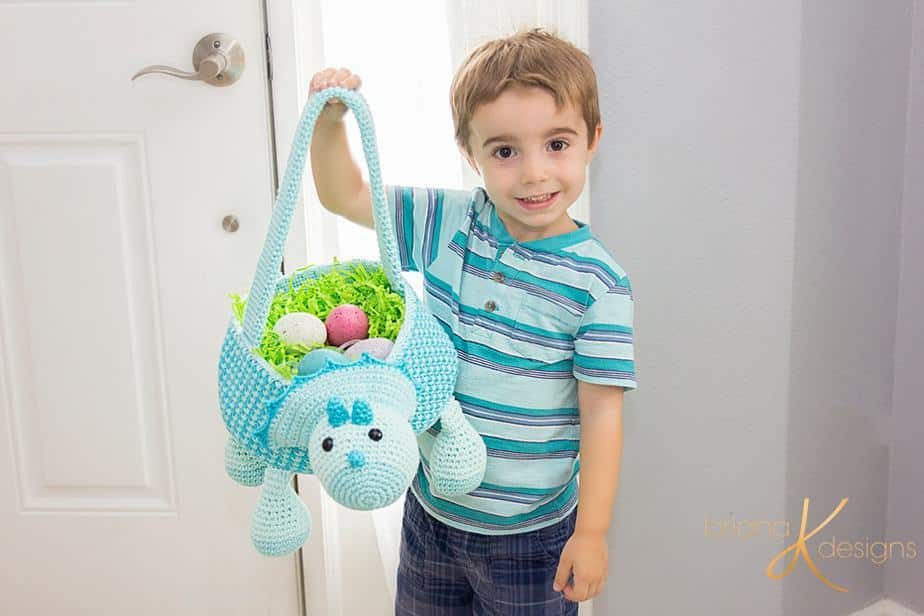 Dinosaur Crochet Easter Basket by Briana K Designs