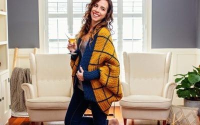 Windowpane Cocoon Wrap Crochet