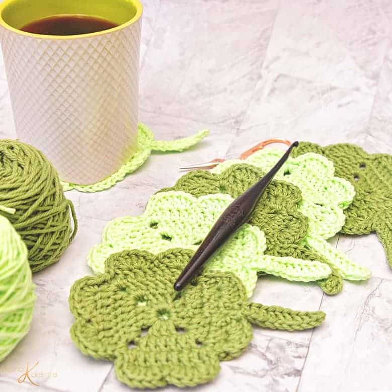 Shamrock St. Patrick Crochet Coaster by Briana K Designs