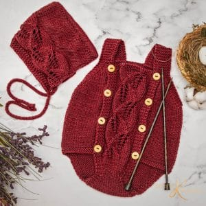 Blooming Knit Romper and Bonnet by Briana K Designs