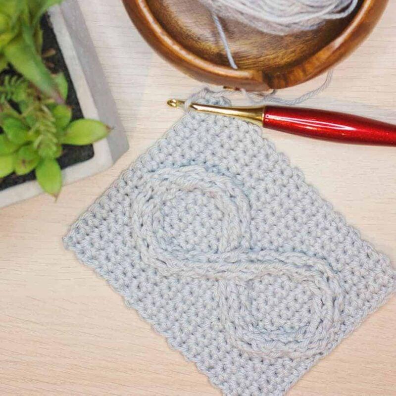 Infinity crochet symbol swatch