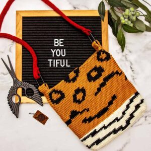 animal print crochet bag