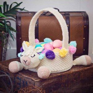 llama easter basket crochet pattern
