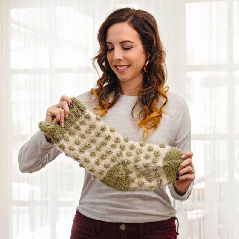 polkadot stocking knit pattern
