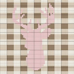 spring deer knit plaid pillow cover
